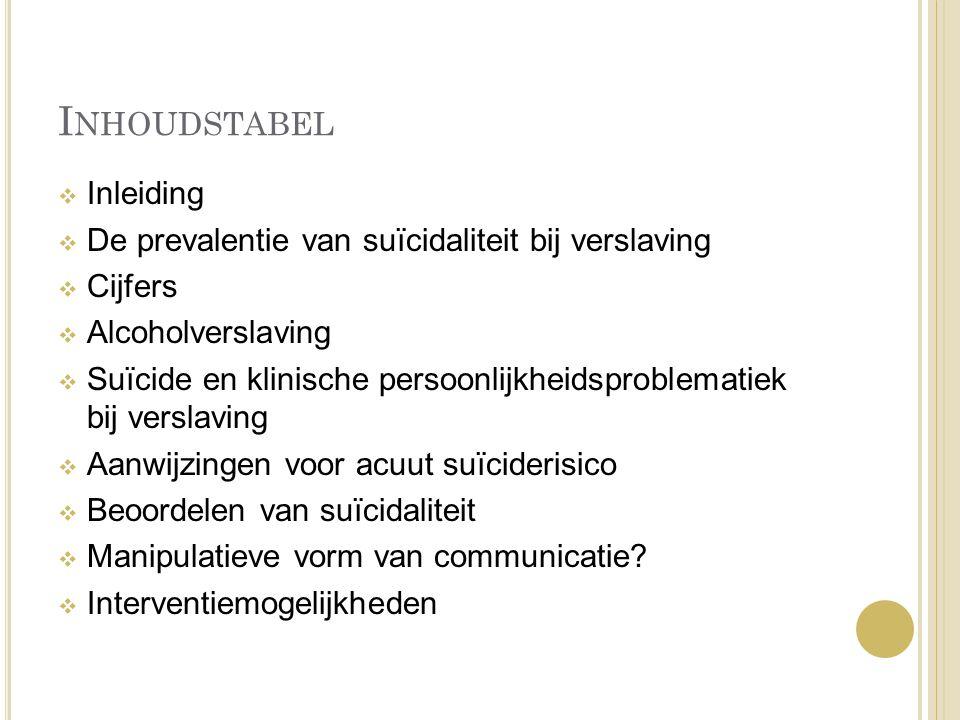 I NHOUDSTABEL  Inleiding  De prevalentie van suïcidaliteit bij verslaving  Cijfers  Alcoholverslaving  Suïcide en klinische persoonlijkheidsprobl