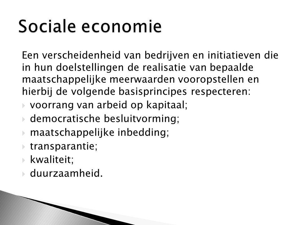 Een verscheidenheid van bedrijven en initiatieven die in hun doelstellingen de realisatie van bepaalde maatschappelijke meerwaarden vooropstellen en hierbij de volgende basisprincipes respecteren:  voorrang van arbeid op kapitaal;  democratische besluitvorming;  maatschappelijke inbedding;  transparantie;  kwaliteit;  duurzaamheid.