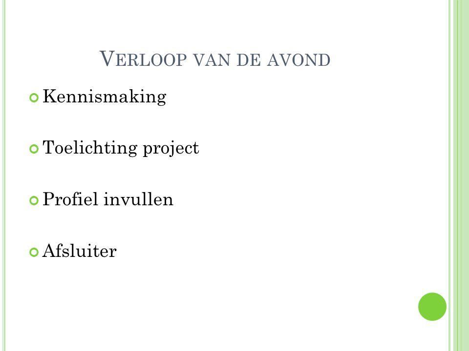 V ERLOOP VAN DE AVOND Kennismaking Toelichting project Profiel invullen Afsluiter
