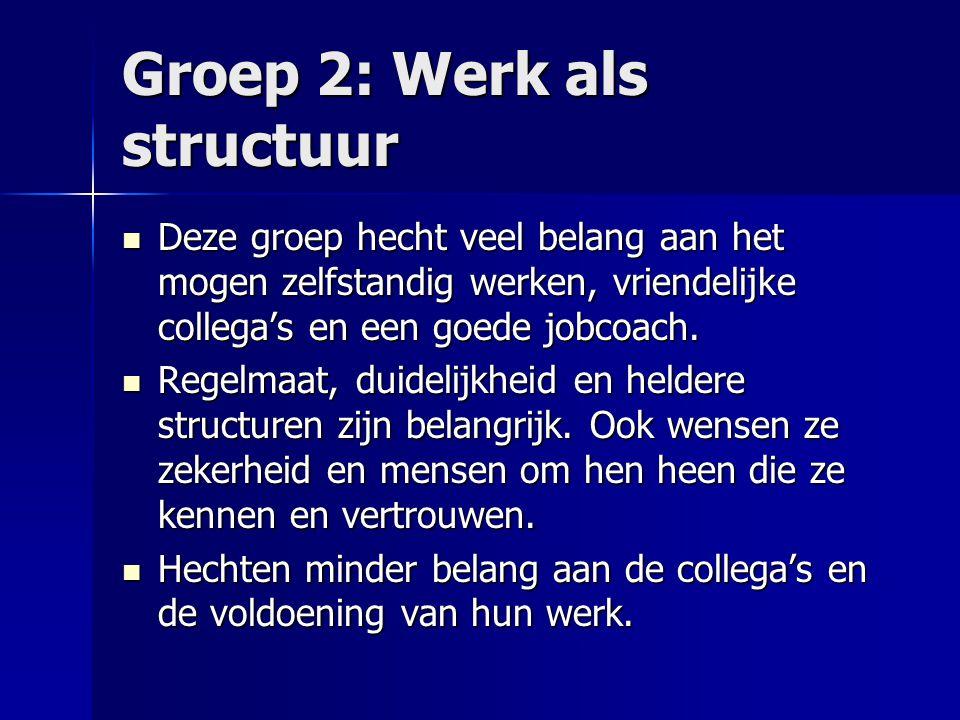 Groep 2: Werk als structuur Deze groep hecht veel belang aan het mogen zelfstandig werken, vriendelijke collega's en een goede jobcoach. Deze groep he