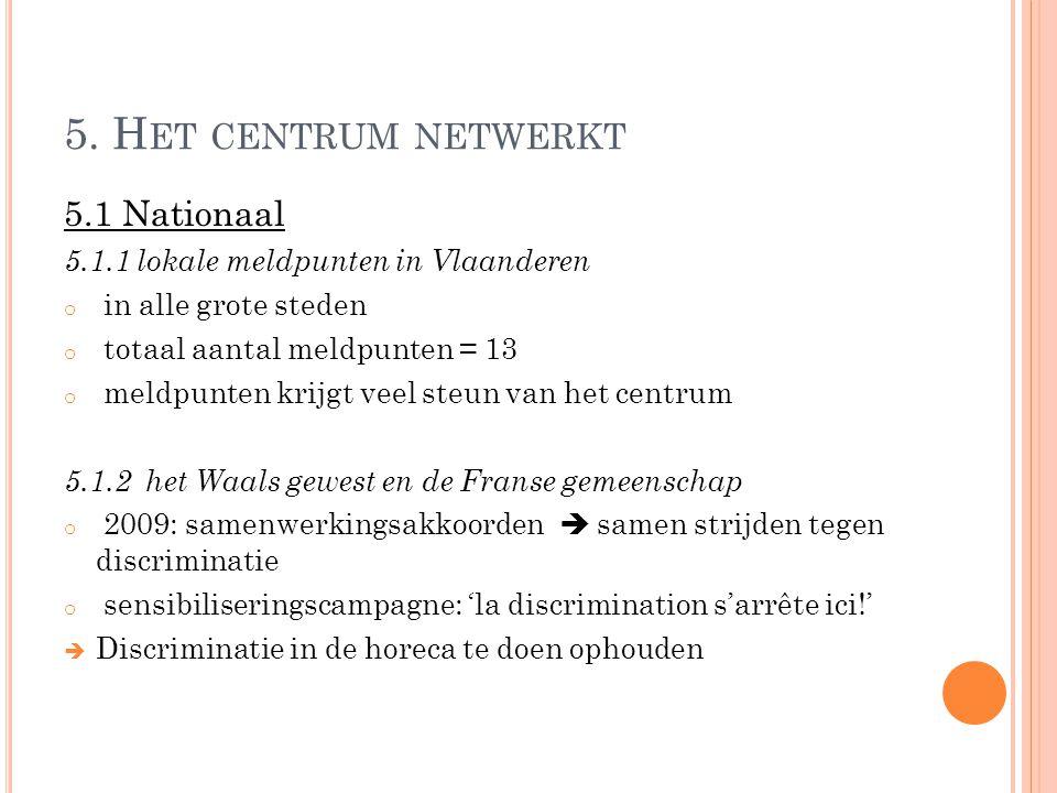 5. H ET CENTRUM NETWERKT 5.1 Nationaal 5.1.1 lokale meldpunten in Vlaanderen o in alle grote steden o totaal aantal meldpunten = 13 o meldpunten krijg
