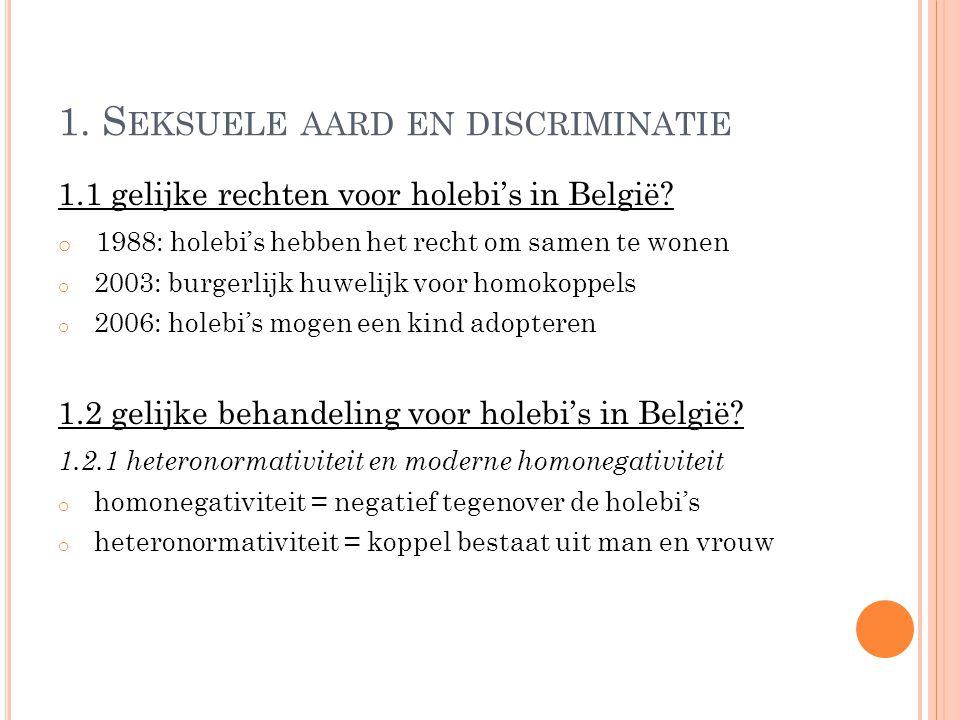 1. S EKSUELE AARD EN DISCRIMINATIE 1.1 gelijke rechten voor holebi's in België.