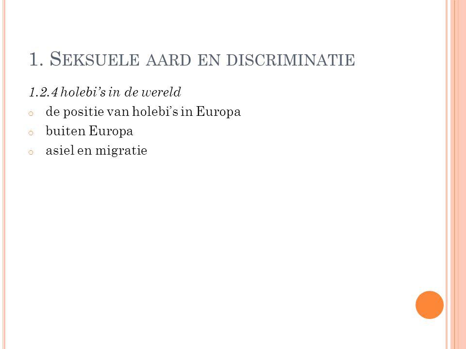1. S EKSUELE AARD EN DISCRIMINATIE 1.2.4 holebi's in de wereld o de positie van holebi's in Europa o buiten Europa o asiel en migratie