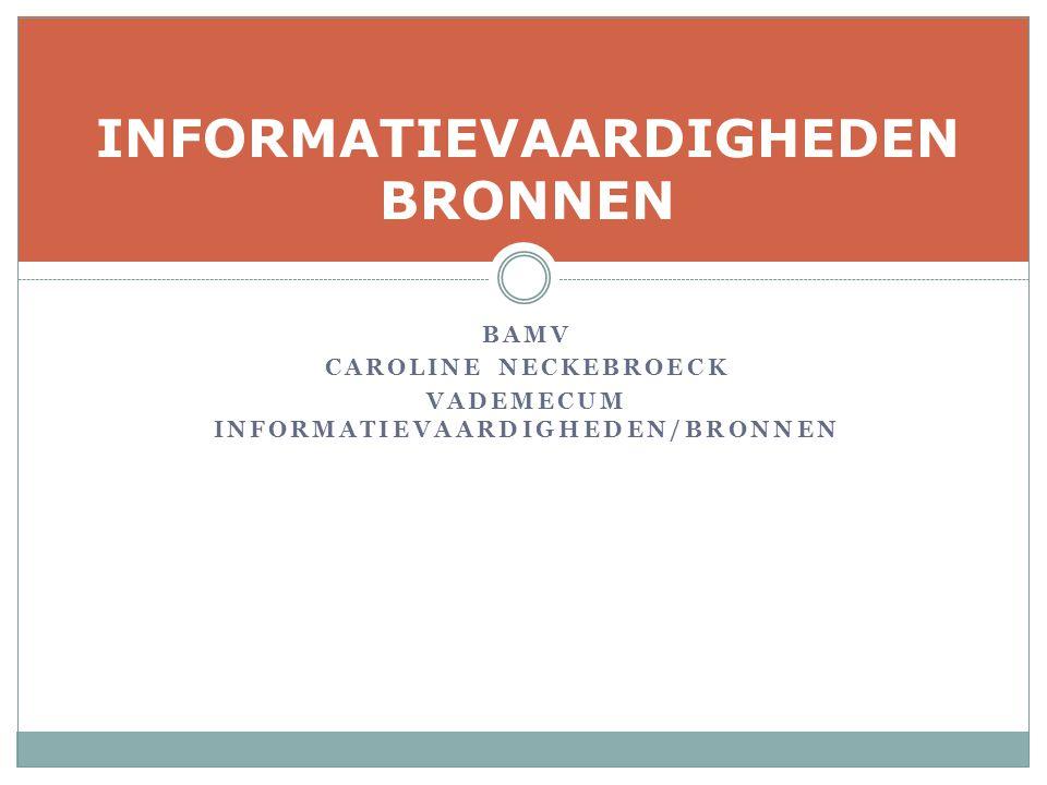 BAMV CAROLINE NECKEBROECK VADEMECUM INFORMATIEVAARDIGHEDEN/BRONNEN INFORMATIEVAARDIGHEDEN BRONNEN