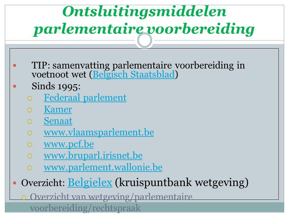 Ontsluitingsmiddelen parlementaire voorbereiding TIP: samenvatting parlementaire voorbereiding in voetnoot wet (Belgisch Staatsblad)Belgisch Staatsbla