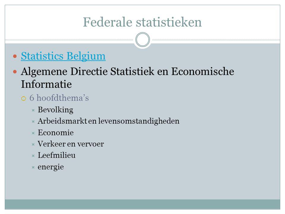 Federale statistieken Statistics Belgium Algemene Directie Statistiek en Economische Informatie  6 hoofdthema's  Bevolking  Arbeidsmarkt en levensomstandigheden  Economie  Verkeer en vervoer  Leefmilieu  energie