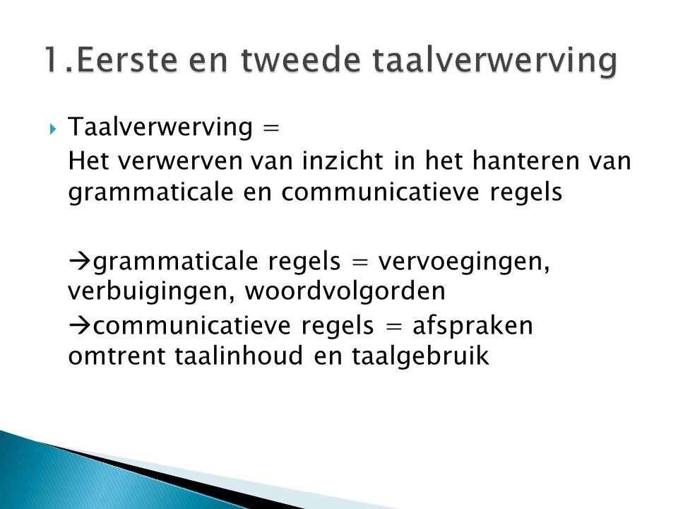  Taalverwerving = Het verwerven van inzicht in het hanteren van grammaticale en communicatieve regels  grammaticale regels = vervoegingen, verbuigin