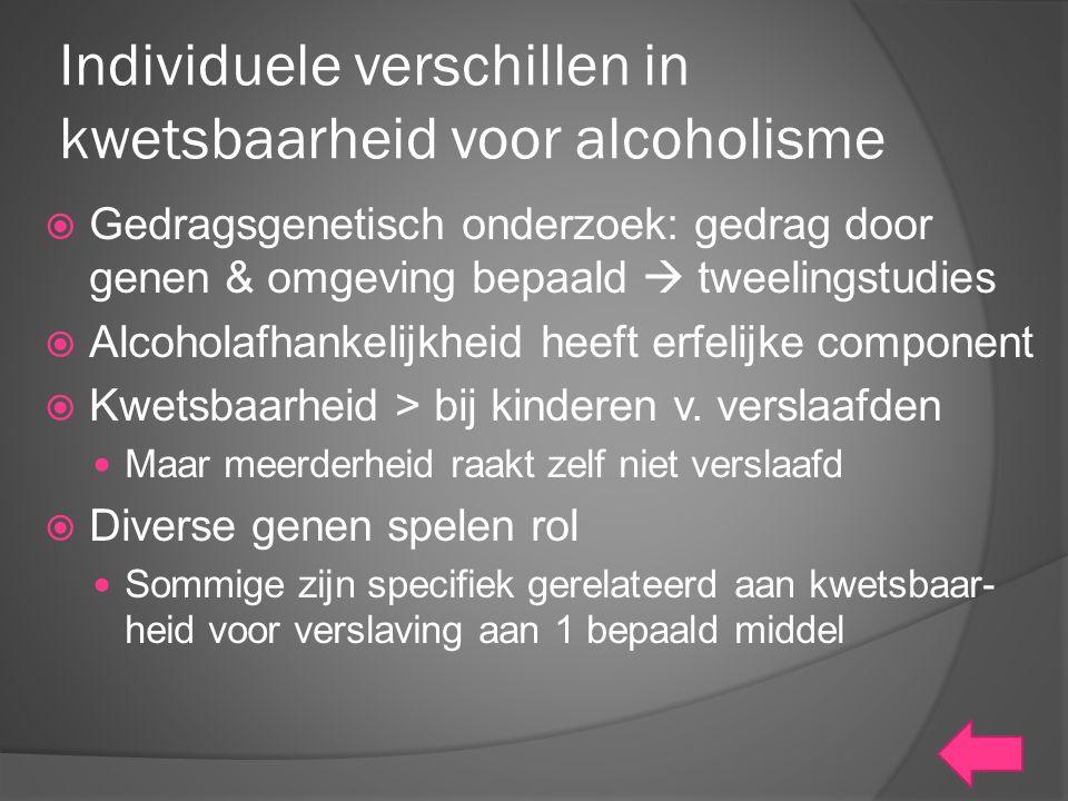 Individuele verschillen in kwetsbaarheid voor alcoholisme  Gedragsgenetisch onderzoek: gedrag door genen & omgeving bepaald  tweelingstudies  Alcoh