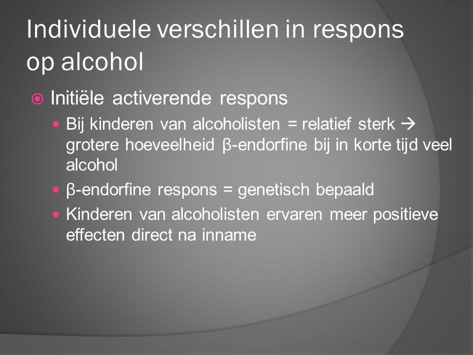 Individuele verschillen in respons op alcohol  Initiële activerende respons Bij kinderen van alcoholisten = relatief sterk  grotere hoeveelheid β-en
