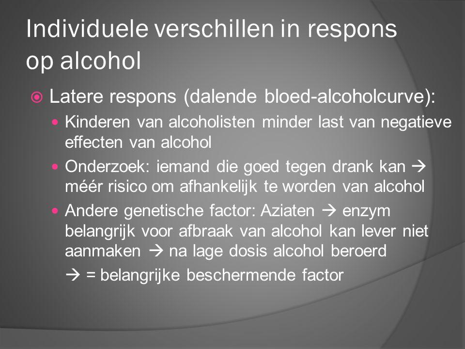 Individuele verschillen in respons op alcohol  Latere respons (dalende bloed-alcoholcurve): Kinderen van alcoholisten minder last van negatieve effec