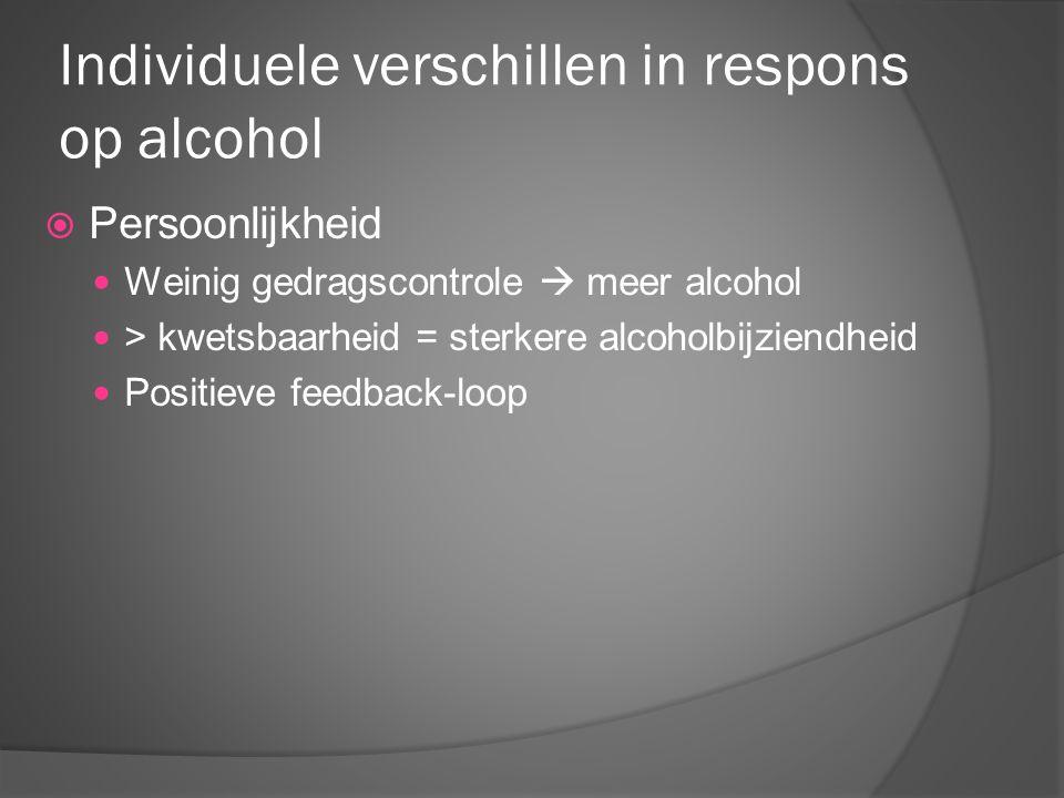 Individuele verschillen in respons op alcohol  Persoonlijkheid Weinig gedragscontrole  meer alcohol > kwetsbaarheid = sterkere alcoholbijziendheid P
