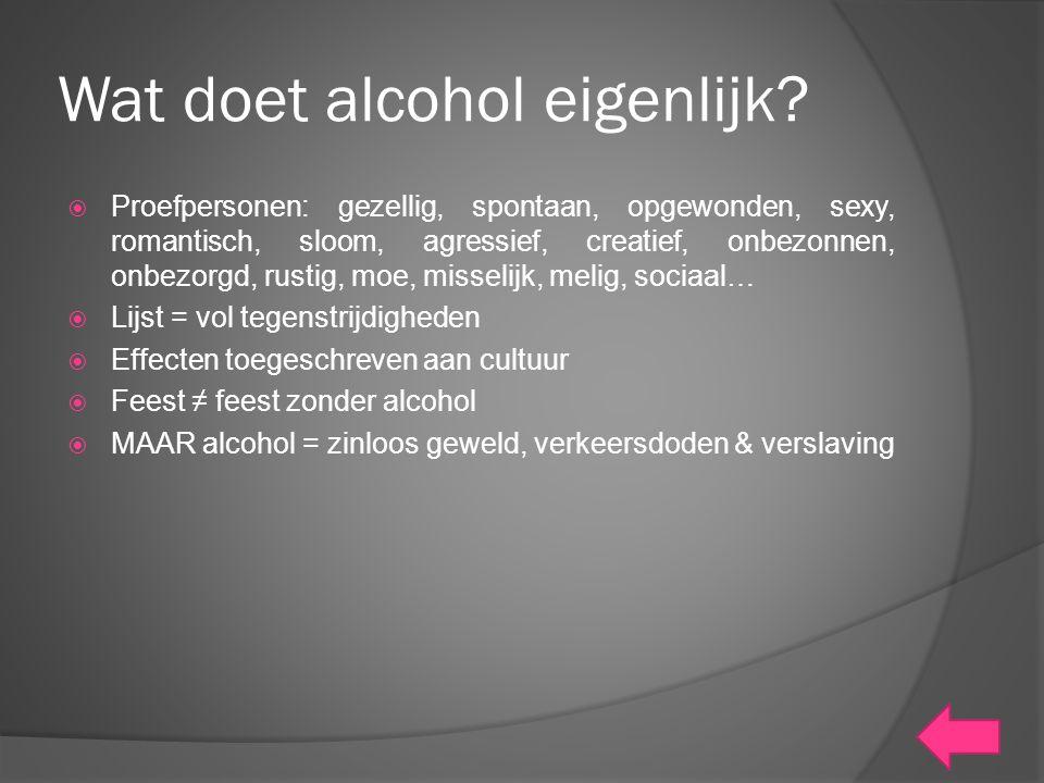 Wat doet alcohol eigenlijk?  Proefpersonen: gezellig, spontaan, opgewonden, sexy, romantisch, sloom, agressief, creatief, onbezonnen, onbezorgd, rust