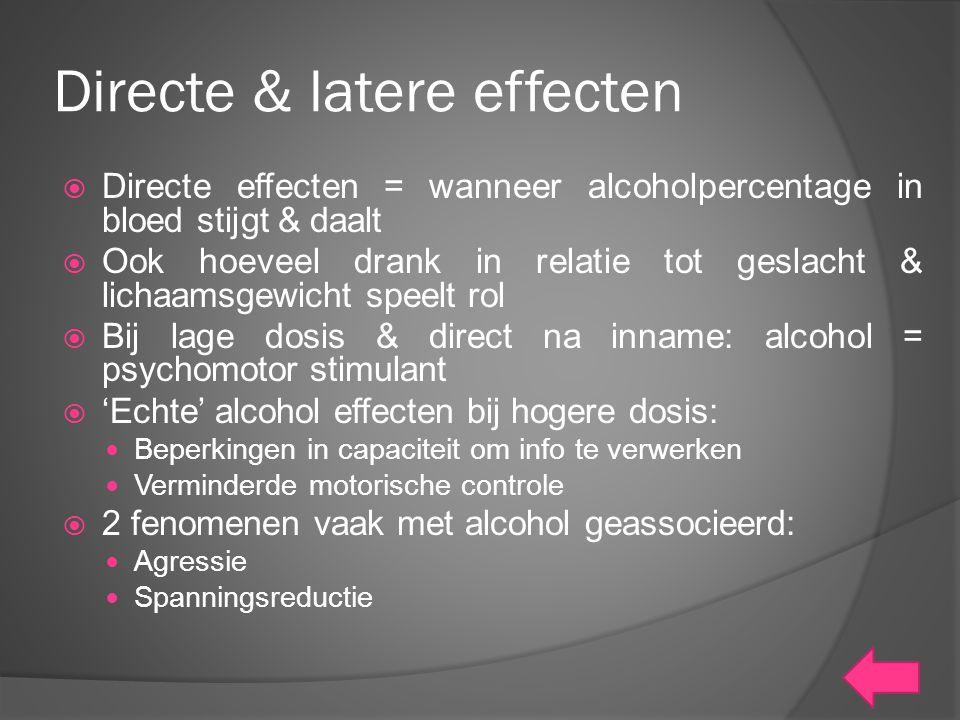 Directe & latere effecten  Directe effecten = wanneer alcoholpercentage in bloed stijgt & daalt  Ook hoeveel drank in relatie tot geslacht & lichaam