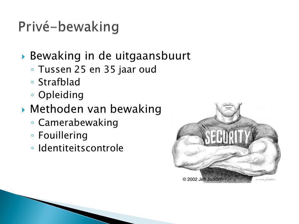  Bewaking in de uitgaansbuurt ◦ Tussen 25 en 35 jaar oud ◦ Strafblad ◦ Opleiding  Methoden van bewaking ◦ Camerabewaking ◦ Fouillering ◦ Identiteitscontrole