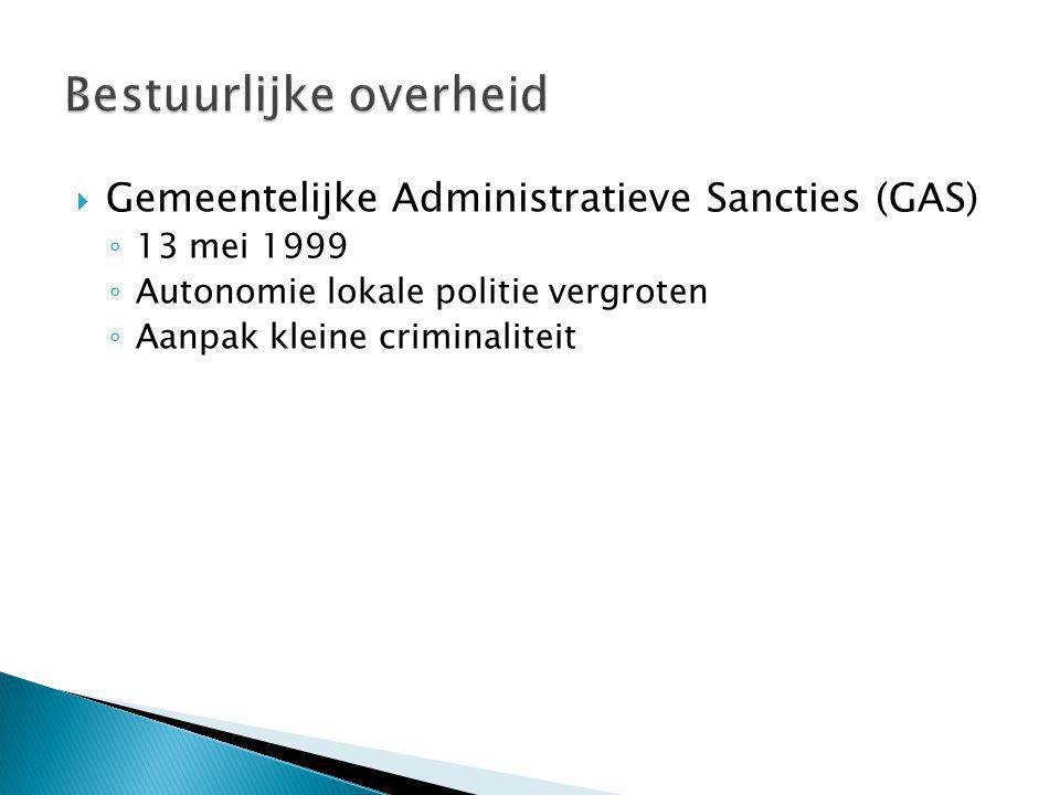  Gemeentelijke Administratieve Sancties (GAS) ◦ 13 mei 1999 ◦ Autonomie lokale politie vergroten ◦ Aanpak kleine criminaliteit