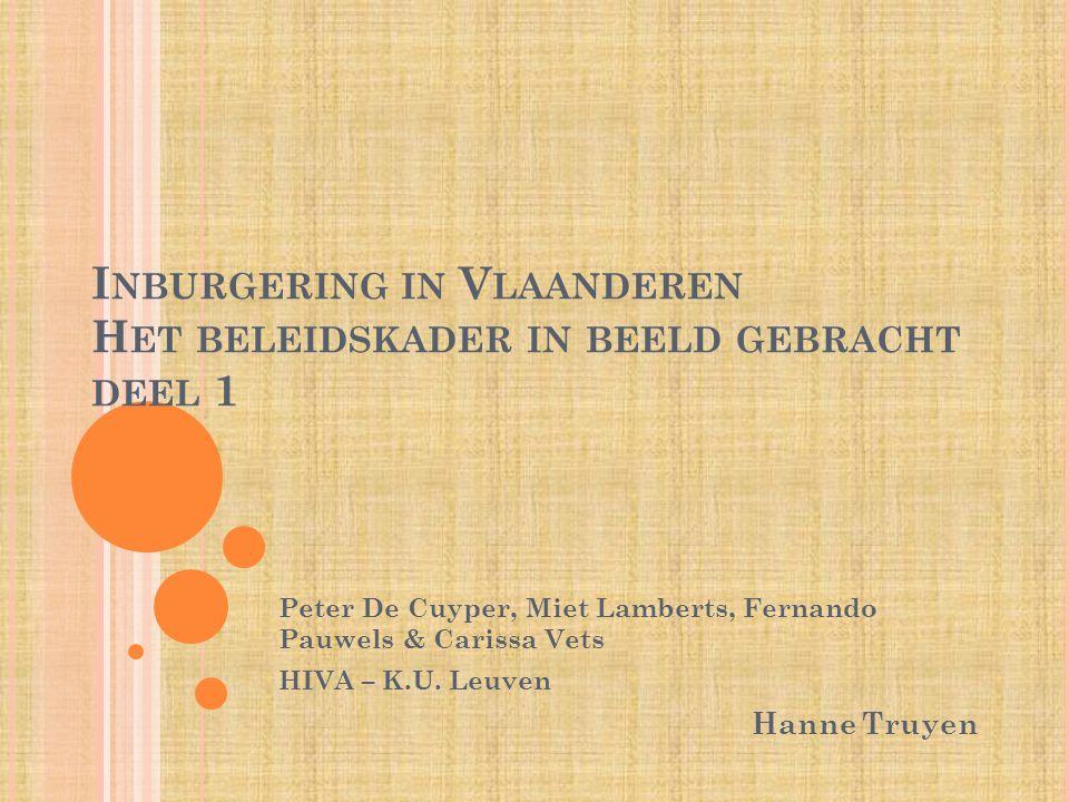 I NBURGERING IN V LAANDEREN H ET BELEIDSKADER IN BEELD GEBRACHT DEEL 1 Peter De Cuyper, Miet Lamberts, Fernando Pauwels & Carissa Vets HIVA – K.U.