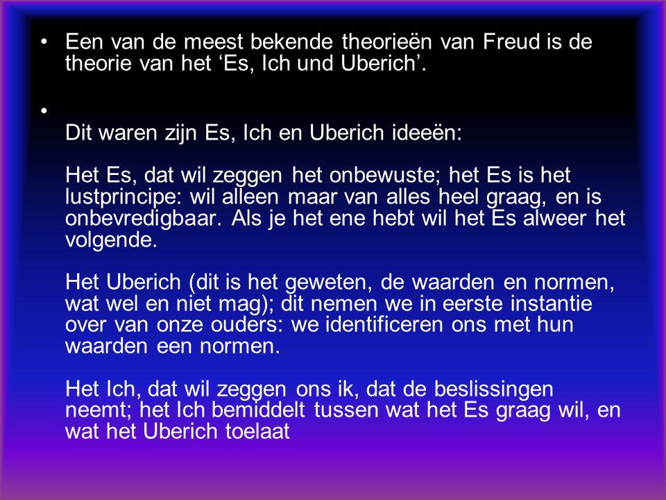 Een van de meest bekende theorieën van Freud is de theorie van het 'Es, Ich und Uberich'.