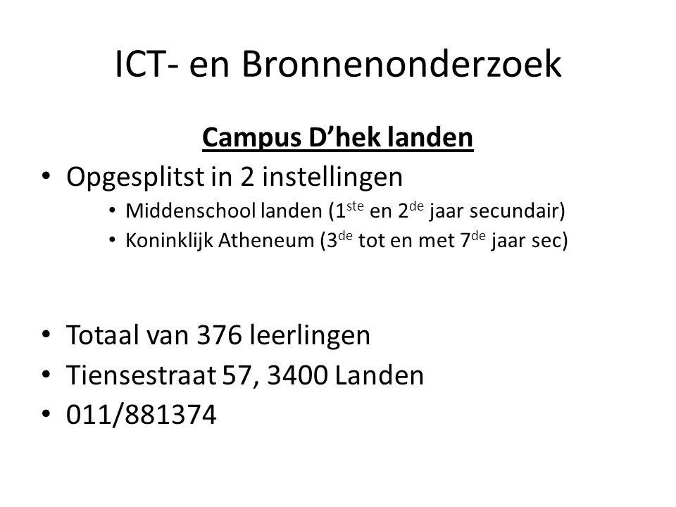 ICT- en Bronnenonderzoek Campus D'hek landen Opgesplitst in 2 instellingen Middenschool landen (1 ste en 2 de jaar secundair) Koninklijk Atheneum (3 d