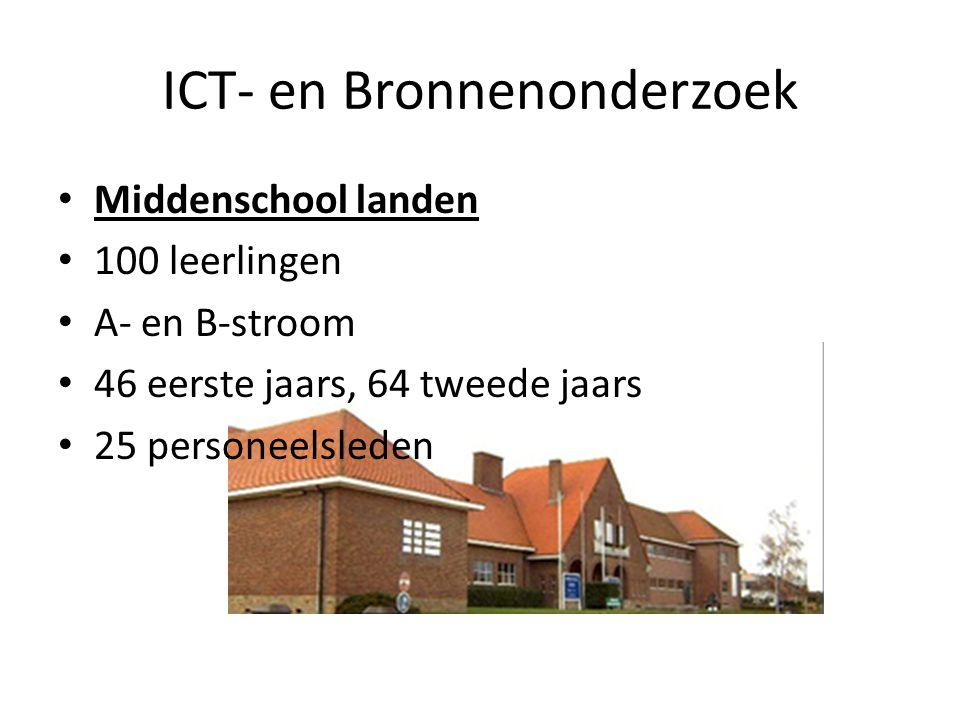 ICT- en Bronnenonderzoek Koninklijk Atheneum 276 leerlingen ASO, TSO en BSO richtingen ASO heeft 65 leerlingen TSO heeft 121 leerlingen BSO heeft 90 leerlingen
