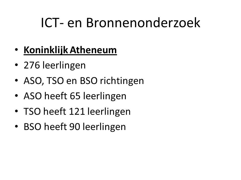 ICT- en Bronnenonderzoek Koninklijk Atheneum 276 leerlingen ASO, TSO en BSO richtingen ASO heeft 65 leerlingen TSO heeft 121 leerlingen BSO heeft 90 l