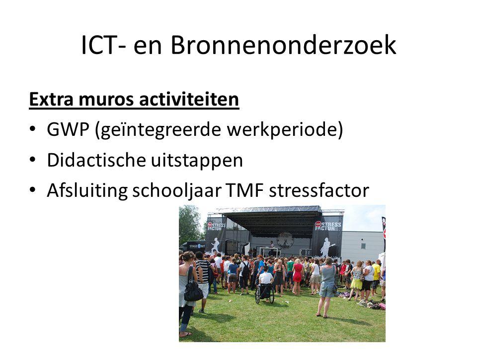 ICT- en Bronnenonderzoek Extra muros activiteiten GWP (geïntegreerde werkperiode) Didactische uitstappen Afsluiting schooljaar TMF stressfactor