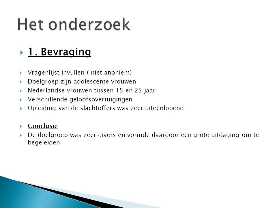  1. Bevraging  Vragenlijst invullen ( niet anoniem)  Doelgroep zijn adolescente vrouwen  Nederlandse vrouwen tussen 15 en 25 jaar  Verschillende