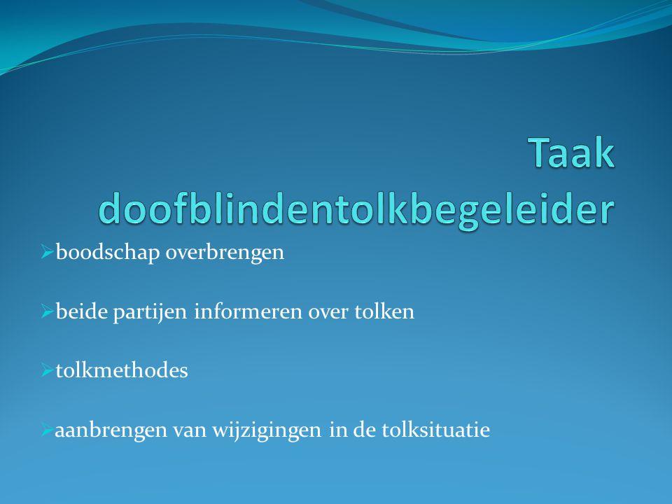  boodschap overbrengen  beide partijen informeren over tolken  tolkmethodes  aanbrengen van wijzigingen in de tolksituatie