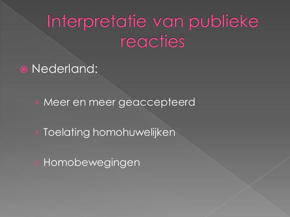  Nederland: › Meer en meer geaccepteerd › Toelating homohuwelijken › Homobewegingen
