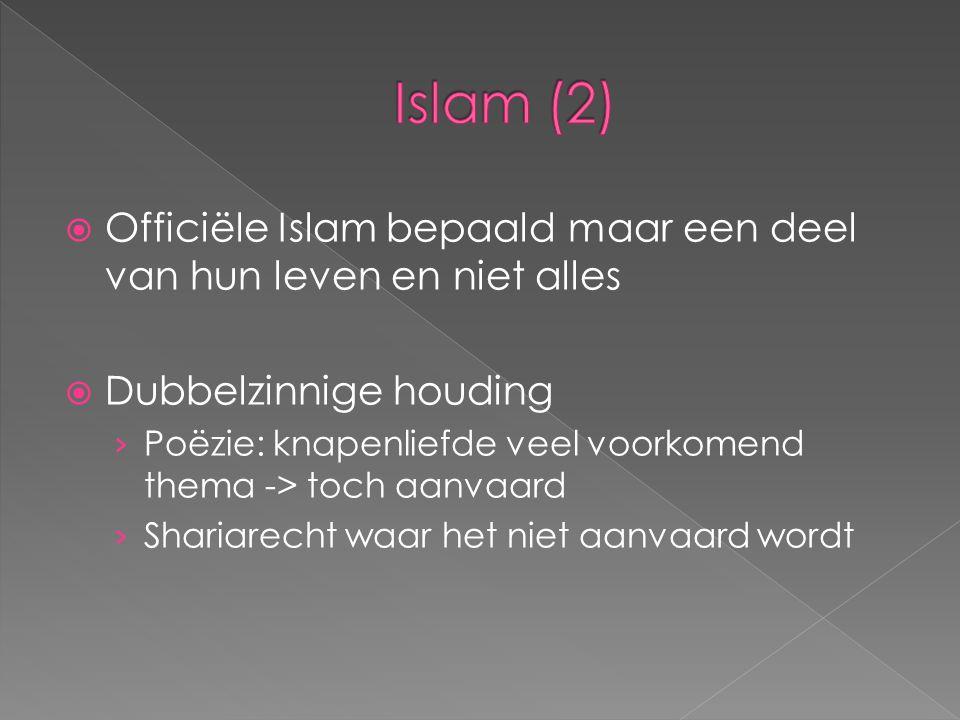 Officiële Islam bepaald maar een deel van hun leven en niet alles  Dubbelzinnige houding › Poëzie: knapenliefde veel voorkomend thema -> toch aanva