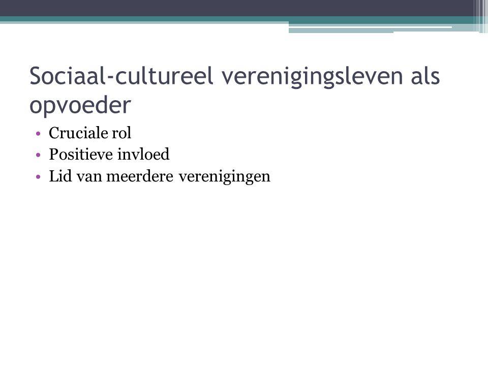 Sociaal-cultureel verenigingsleven als opvoeder Cruciale rol Positieve invloed Lid van meerdere verenigingen