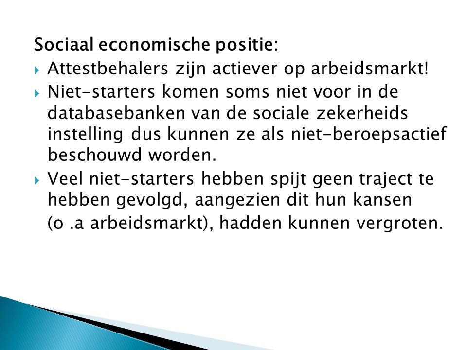 Sociaal economische positie:  Attestbehalers zijn actiever op arbeidsmarkt!  Niet-starters komen soms niet voor in de databasebanken van de sociale
