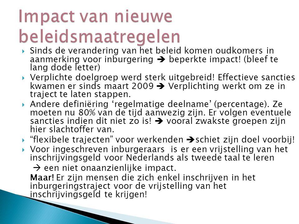  Bereik en participatie verhogen  Effectiviteit verhogen + uitval verminderen  Een voorstel tot aanpassing van de processen van het traject  De waarde van het attest moet verhoogd worden  Meer maatwerk en doelgerichtheid zijn nog steeds noodzakelijk
