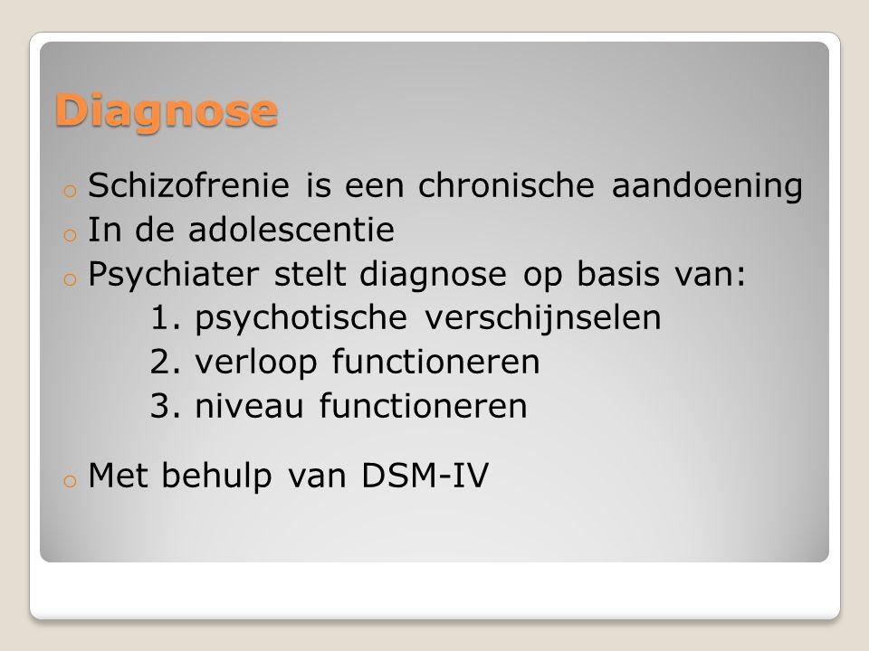 Diagnose o Schizofrenie is een chronische aandoening o In de adolescentie o Psychiater stelt diagnose op basis van: 1. psychotische verschijnselen 2.