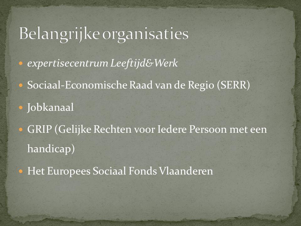 expertisecentrum Leeftijd&Werk Sociaal-Economische Raad van de Regio (SERR) Jobkanaal GRIP (Gelijke Rechten voor Iedere Persoon met een handicap) Het Europees Sociaal Fonds Vlaanderen