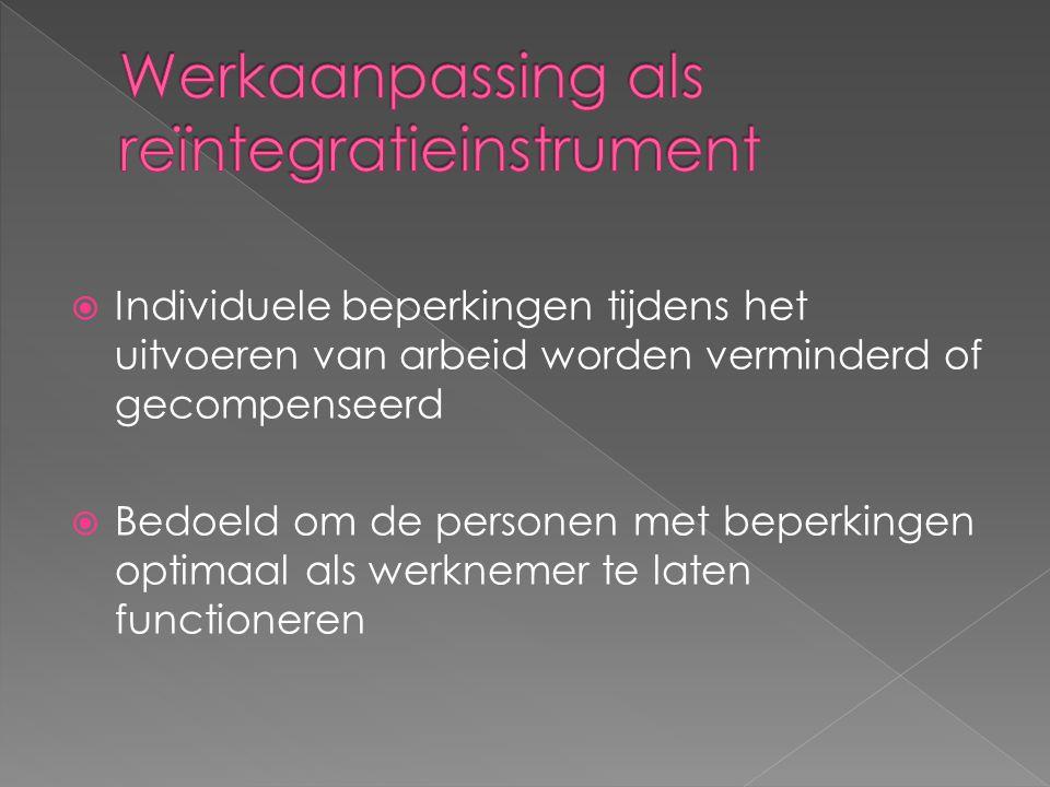  Individuele beperkingen tijdens het uitvoeren van arbeid worden verminderd of gecompenseerd  Bedoeld om de personen met beperkingen optimaal als werknemer te laten functioneren