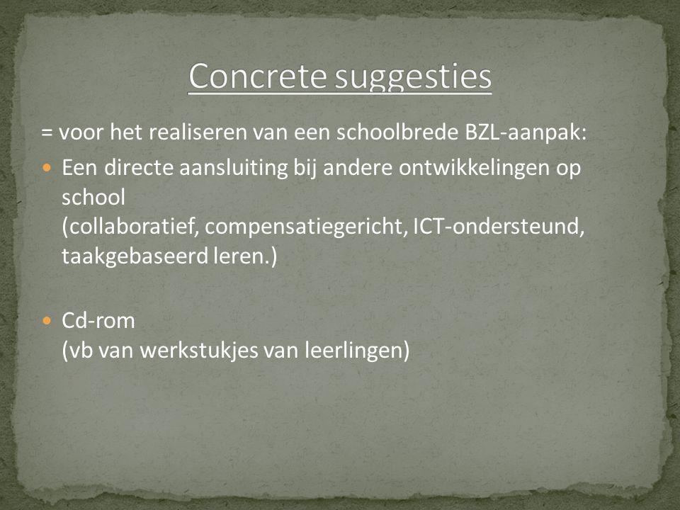 Concreet BZL-materiaal voor de lessen Nederlands, Frans, Duits en Engels Didactische principes en technieken Aandacht aan de ervarings- en reflectieverslagen van leerkrachten Theoretische concepten-
