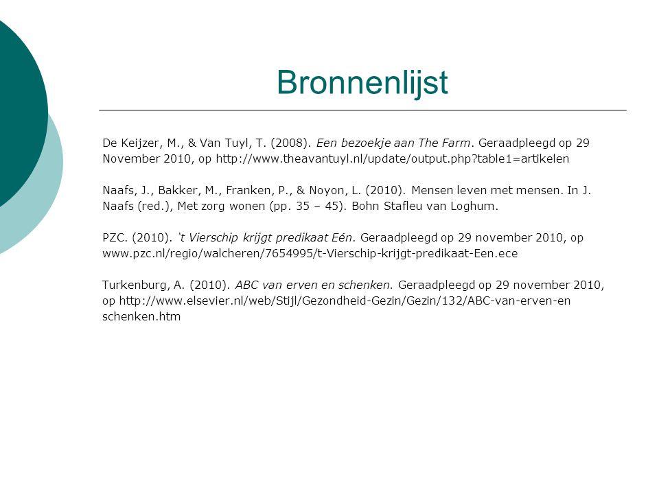 Bronnenlijst De Keijzer, M., & Van Tuyl, T.(2008).