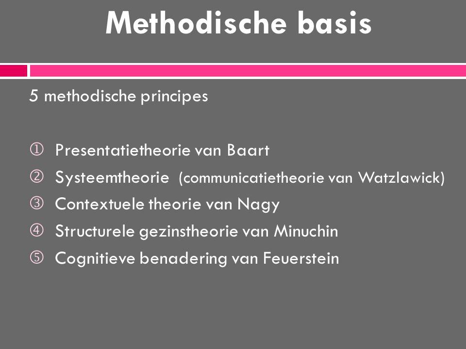 Methodische basis 5 methodische principes  Presentatietheorie van Baart  Systeemtheorie (communicatietheorie van Watzlawick) Contextuele theorie van