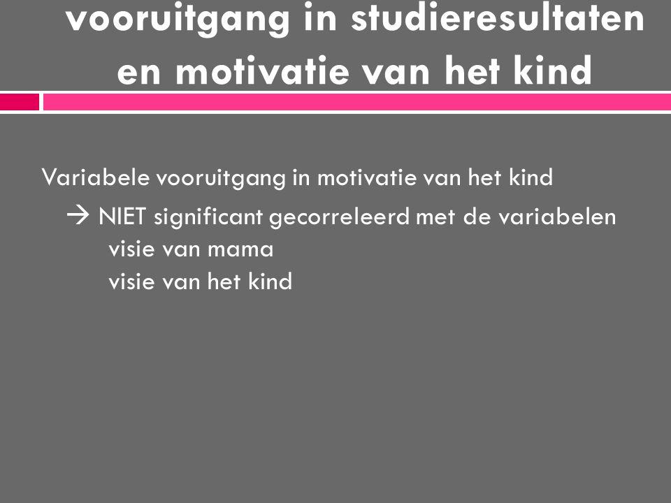 vooruitgang in studieresultaten en motivatie van het kind Variabele vooruitgang in motivatie van het kind  NIET significant gecorreleerd met de varia