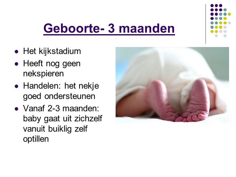 Geboorte- 3 maanden Het kijkstadium Heeft nog geen nekspieren Handelen: het nekje goed ondersteunen Vanaf 2-3 maanden: baby gaat uit zichzelf vanuit b