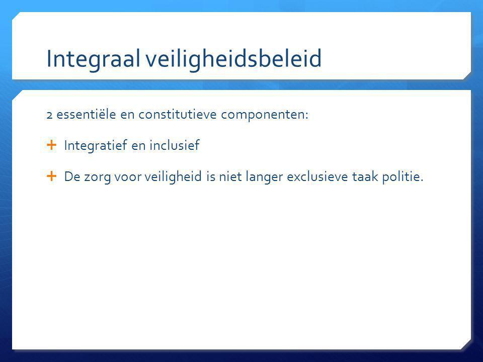 Integraal veiligheidsbeleid 2 essentiële en constitutieve componenten:  Integratief en inclusief  De zorg voor veiligheid is niet langer exclusieve