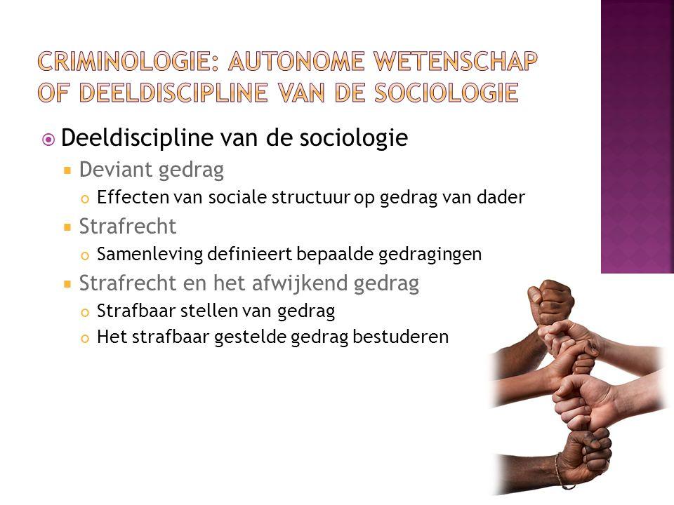  Deeldiscipline van de sociologie  Deviant gedrag Effecten van sociale structuur op gedrag van dader  Strafrecht Samenleving definieert bepaalde gedragingen  Strafrecht en het afwijkend gedrag Strafbaar stellen van gedrag Het strafbaar gestelde gedrag bestuderen