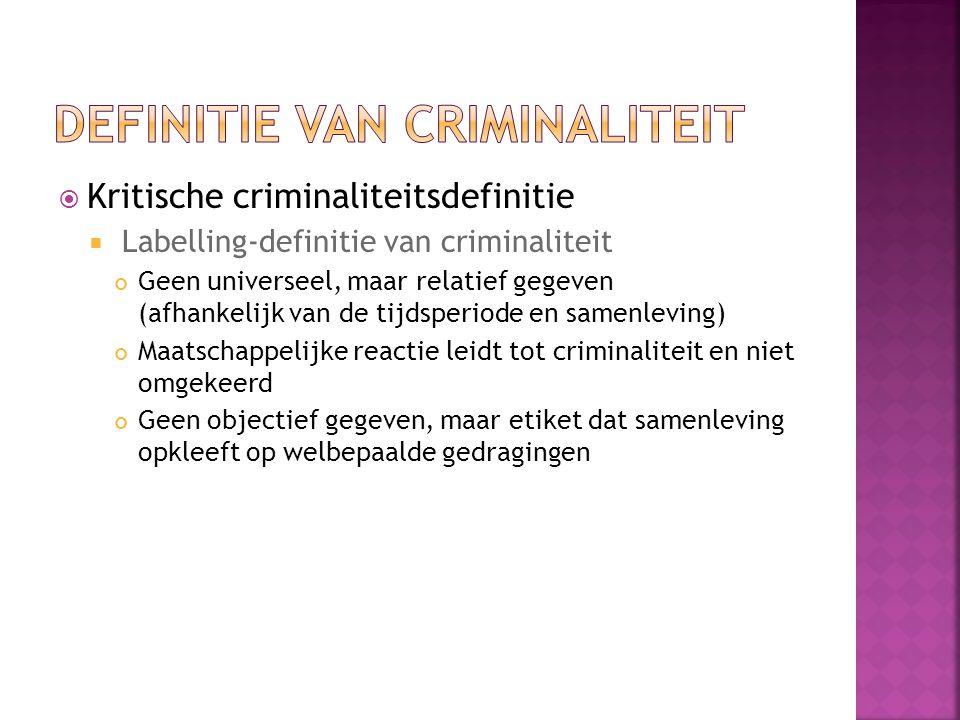  Kritische criminaliteitsdefinitie  Labelling-definitie van criminaliteit Geen universeel, maar relatief gegeven (afhankelijk van de tijdsperiode en samenleving) Maatschappelijke reactie leidt tot criminaliteit en niet omgekeerd Geen objectief gegeven, maar etiket dat samenleving opkleeft op welbepaalde gedragingen