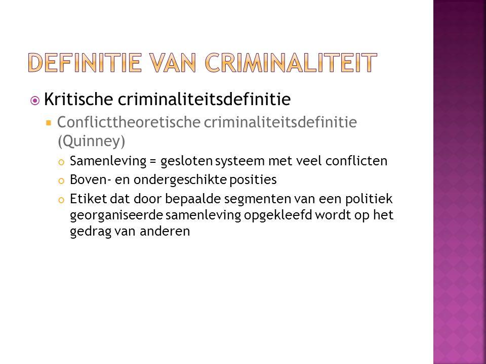  Kritische criminaliteitsdefinitie  Conflicttheoretische criminaliteitsdefinitie (Quinney) Samenleving = gesloten systeem met veel conflicten Boven- en ondergeschikte posities Etiket dat door bepaalde segmenten van een politiek georganiseerde samenleving opgekleefd wordt op het gedrag van anderen