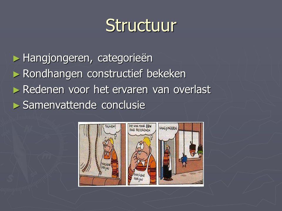Structuur ► Hangjongeren, categorieën ► Rondhangen constructief bekeken ► Redenen voor het ervaren van overlast ► Samenvattende conclusie