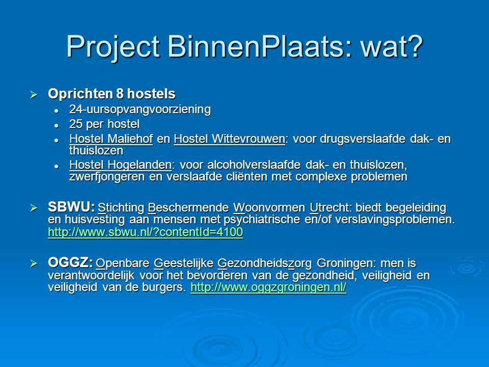 Project BinnenPlaats: wat?  Oprichten 8 hostels 24-uursopvangvoorziening 24-uursopvangvoorziening 25 per hostel 25 per hostel Hostel Maliehof en Host