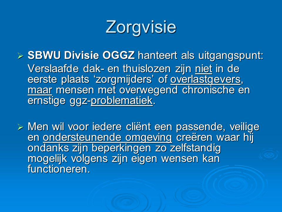 Zorgvisie  SBWU Divisie OGGZ hanteert als uitgangspunt: Verslaafde dak- en thuislozen zijn niet in de eerste plaats 'zorgmijders' of overlastgevers,