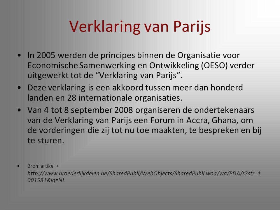 Verklaring van Parijs In 2005 werden de principes binnen de Organisatie voor Economische Samenwerking en Ontwikkeling (OESO) verder uitgewerkt tot de