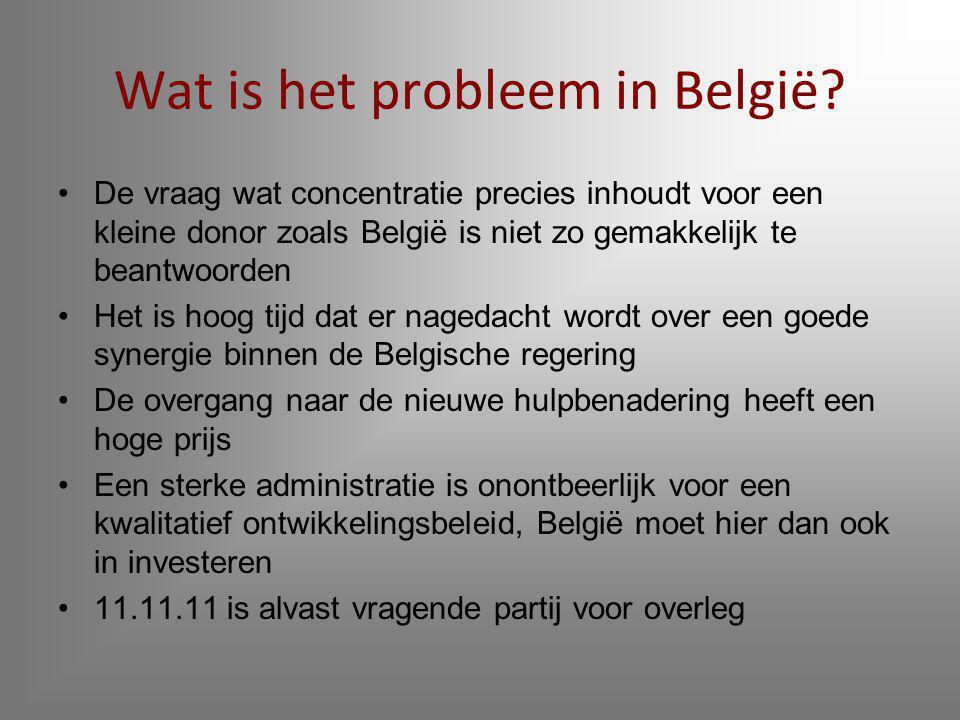 Tussentitels uit het artikel Inleiding Belgische ontwikkelingssamenwerking maakt steile val België heeft een plan Minder projecten Meer begrotingshulp België te logge donor Donoren onder elkaar Concentratie Gevolgen voor ngo's.