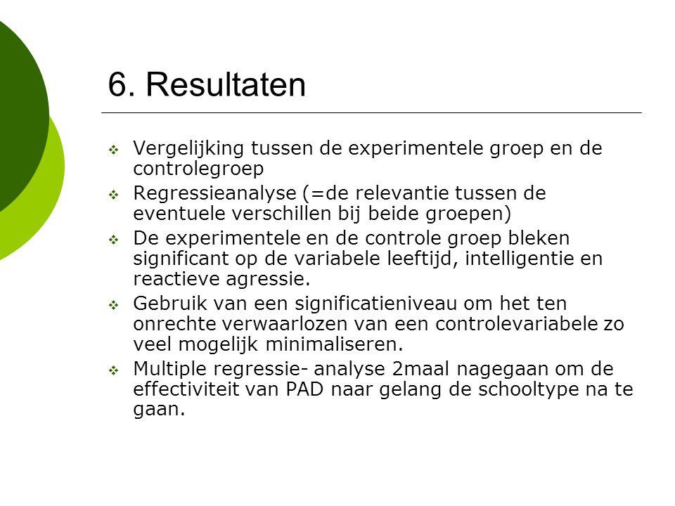 6. Resultaten  Vergelijking tussen de experimentele groep en de controlegroep  Regressieanalyse (=de relevantie tussen de eventuele verschillen bij